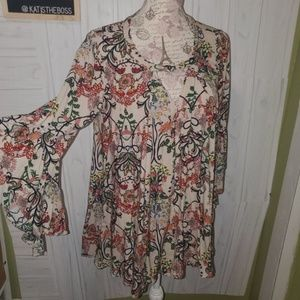 JODIFL FLORAL TUNIC BELL SLEEVE STUNNING MED